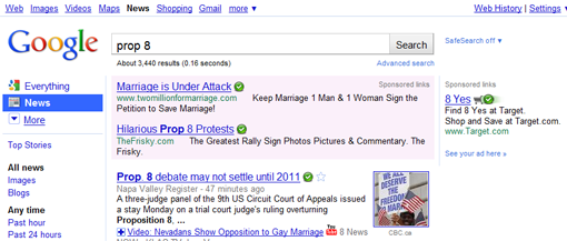 "Target capitalizes on ""Prop 8"" controversy by advertising on Google News"